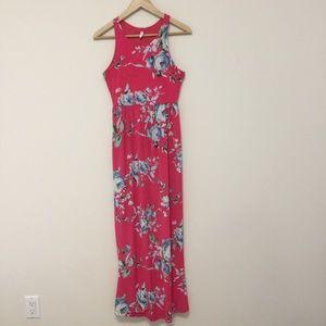 4/20$ Pink Blush Floral maxi dress